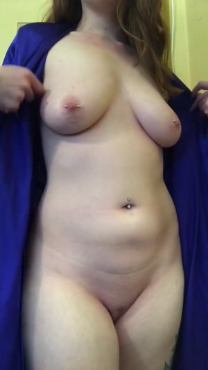 Taking of my robe to play with my tits