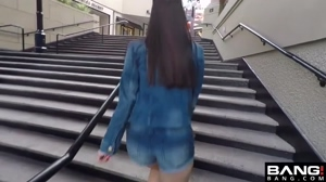 Flashing giant tits at the mall