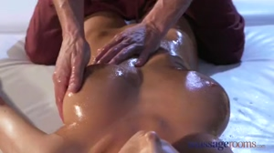 Massage Rooms Busty Brunette Oiled and Fucked