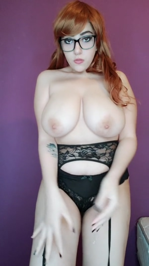 distract this busty goth while she's watching anime