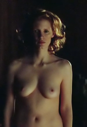 Jessica Chastain's perfect tits and thick red bush!