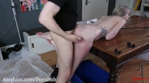 Blond gets a Painful Anal Pounding with ATM on the Dining Table