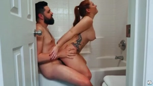 Thick Redhead With Big Tits Gets Pounded In Bathroom