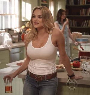 Hunter King in a tight white tank top