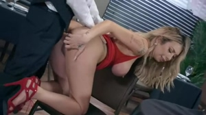 Big Tits Babe Kat Dior Doggystyle Anal in Restaurant