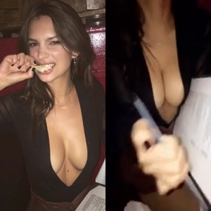 Emily Ratajkowski squeezing her big tits together