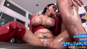 Claire Dames bouncing her boobs while sucking fat cock