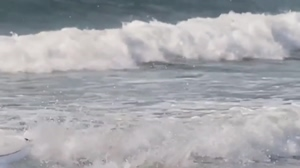 Wave makes surfer girl's titty pop out