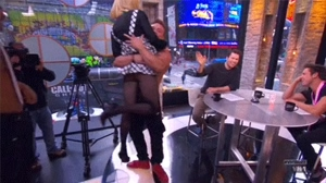 Carrie Keagan's skirt gets lifted on tv