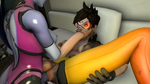 Self sucking Tracer fucked by Widowmaker