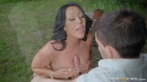 Busty british MILF Candi Kane gets fucked hard by a young gardener