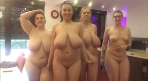Small tits lost between 3 huge boobies