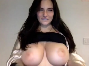 Doing A Reveal Of Her Huge Natural Tits