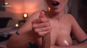 Oiled tits and handjob