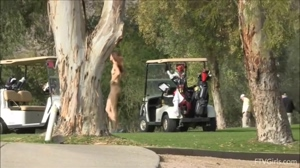 Naked girls on the golf course