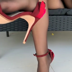sexy sheer pantyhose and red strappy sandals
