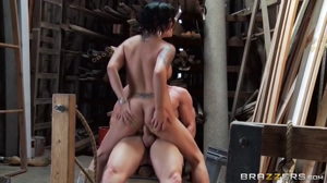 Eva Angelina in a warehouse riding dick in her ass