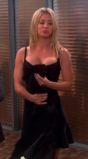In honor of the end of big bang theory - kaley cuoco in that black dress. thanks for the mammaries.