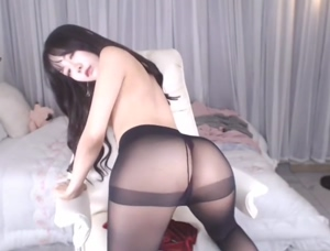 Sexy Asian Teasing in Pantyhose