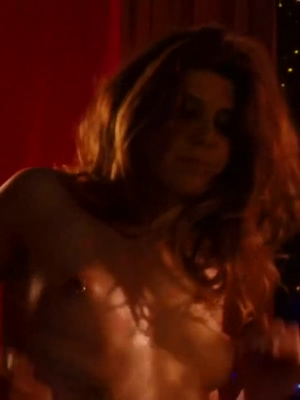 Marisa Tomei stripping and grinding you with her beautiful pierced nipples in your face