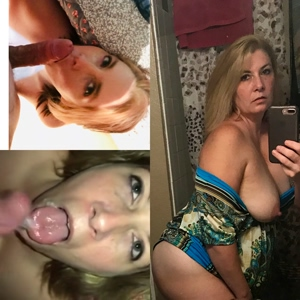 Sexy milf with big tits before and after cumshot!