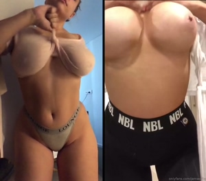 Jem bouncing her natural 32G tits covered and uncovered