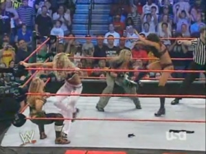 WWE Raw 2005: When botching a simple move becomes a plot.