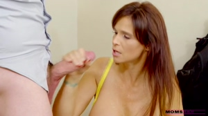 Horny Big Tits Stepmom Giving a Blowjob