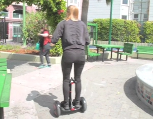Simone Giertz on a Segway