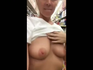 Mature blonde gets laid bare in a supermarket!