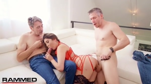 Brenna Sparks eats ass while being ass fucked by another stud