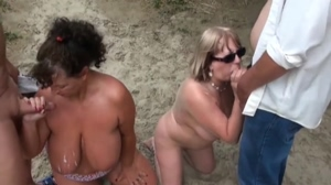 Two busty blows on the beach
