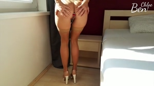High heels teasing with surprise
