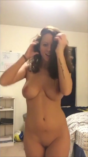 Stripping Then Bouncing Her Big Tits