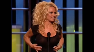Pamela Anderson in a see-through top during her Comedy Central Roast in 2005.