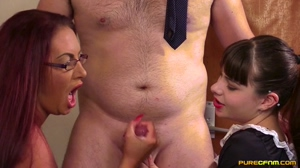 Maid and Master Jerking Him Off