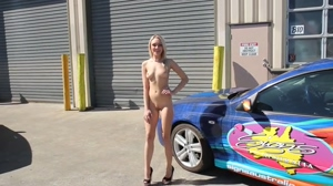 naked blonde talking about cars