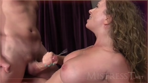Mistress T absolutely drenching her tits with jizz
