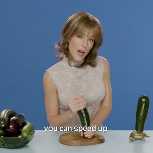 Gillian Anderson giving a lesson on handjobs