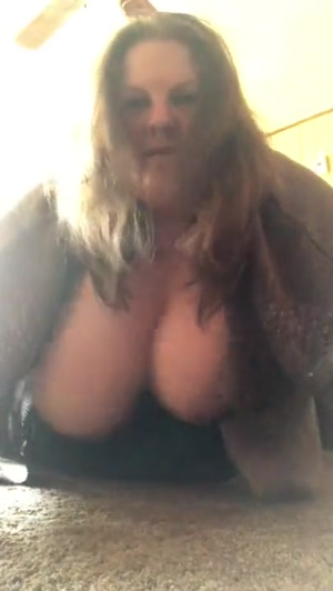 Slut Crystal shakes her huge hanging udders