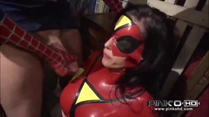 Spiderwoman gets a good cumshot on her costumed tits