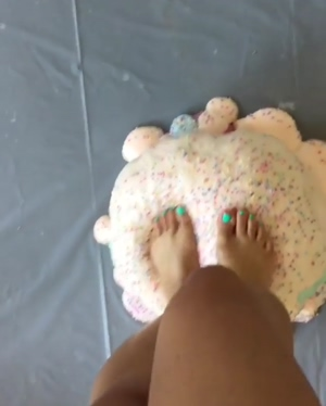 Stepping on a squishy ice cream cushion