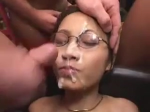 Enthusiastic Asian girl bukkaked by many German guys