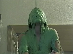 Amatuer actress gets the yucky green slime
