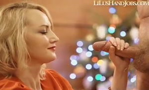 Cumshot on Beautiful red lipped Blonde