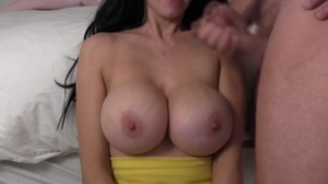 Jerk onto huge boobs