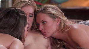 The Family Business – Blonde milf stepmom and stepsister threesome lesbian GIF by Full Lesbian HD Porn