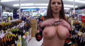 Big Boobs And Pussy Flash In A Store