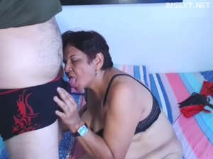 Latin Mom And Son On Webcam