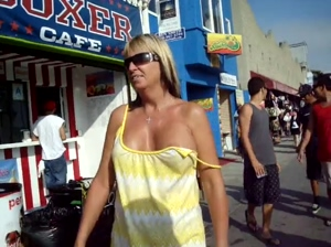 wife letting her tit fall out while walking in public